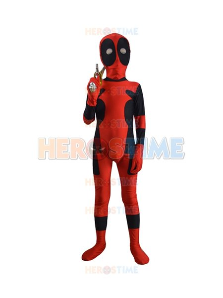 Kids Classic Deadpool Spandex Superhero Costume children deadpool costume kids deadpool costumes for halloween party show custom made