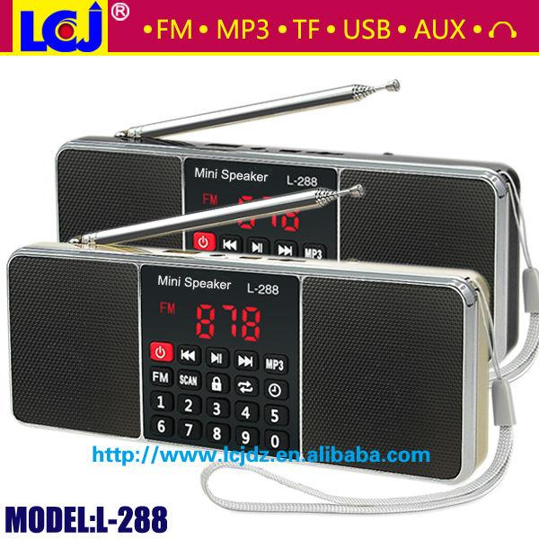 Wholesale-L-288 best quality mini portable radio mini speaker MP3 player with super bass stereo sound support TF card and USB flash drive