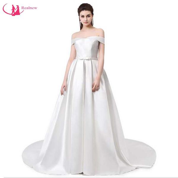 Neue Marke Einfache Satin Langes Abendkleid Braut Bankett Boot-Ausschnitt Schulterfrei Sweep Zug Sexy Damen Kleider Party Kleid