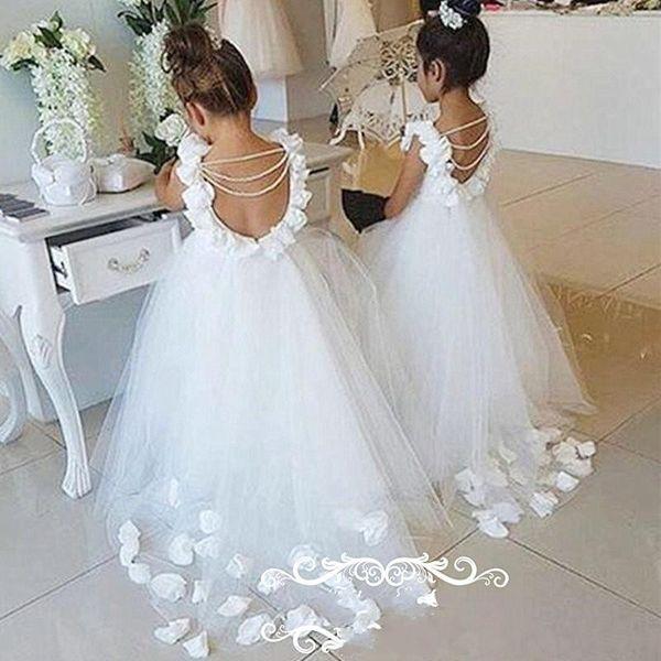 2017 schöne rückenfreie blumenmädchenkleider mit blasenärmeln perlen quasten 3d-floral appliques blumen kleine kinder kleid festzug kleid