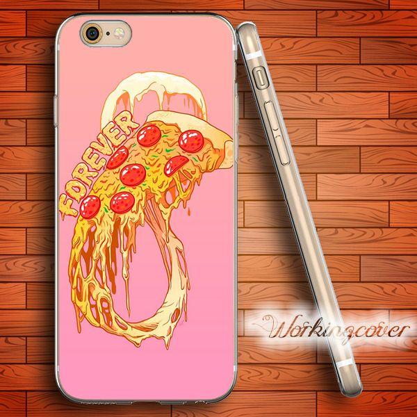 Funda Fundas Pink Pizza Infinity Food Soft Clear TPU para iPhone 6 6S 7 Plus 5S SE 5 5C 4S Funda de Silicona 4 Fundas.