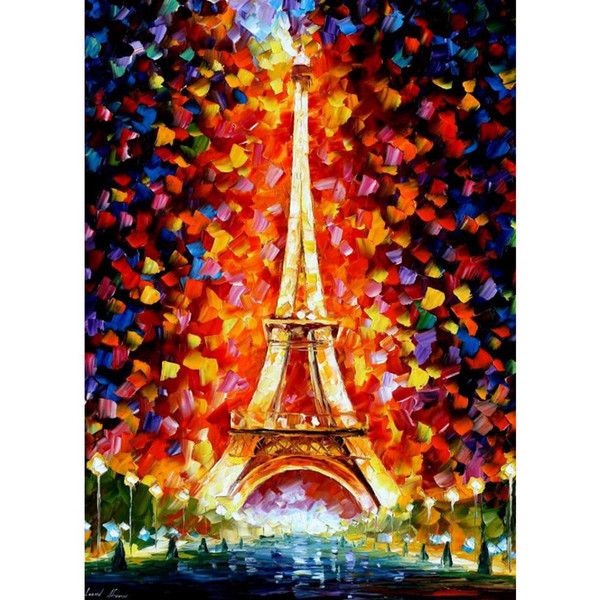 Hand-painted Leonid Afremov famous oil paintings paris eifel tower lighted Landscapes art modern home decor