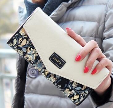 2017 взрывная мода корейский дамы кошелек идиллический маленький цветочный конверт пряжки три раза бумажник длинный раздел
