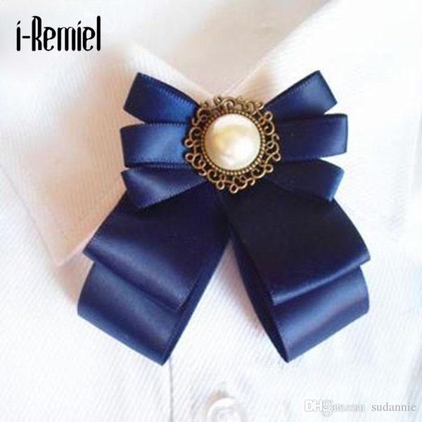 Pin Brooches For 2017 Promotion Real Ribbon Trendy Unisex Fine Jewelry Broche Bow Brooch Corsage Shirt Collar Flower Tie