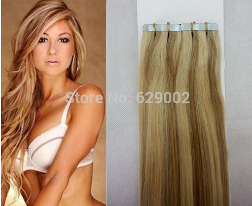 Piano Color #27/613 40 pieces 100g Brazilian Indian Hair 12''-28'' Remi Tape In Human Hair Extensions Tape Hair Extensions