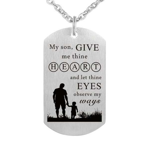 Wholesale Stainless Steel Father Son Pendant Necklace Inspirational Charm  Keychain Gifts Give Me Thine Heart And Let Thine Eyes Observe My Ways Gold