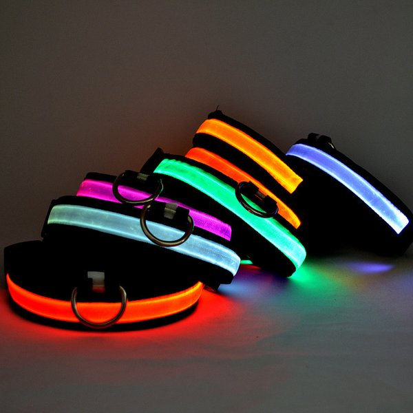 LED Nylon Pet Dog Collar Segurança Noite LED Luz Piscando Brilho no Escuro Cão Pequeno Pet Leash Dog Collar Flashing Safety Collar