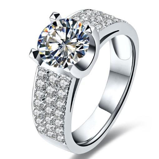 Imitazione Famous Brand 2CT SONA gioielli con diamanti sintetici Propongono per le donne gioielli in argento sterling 925 Anello di fidanzamento 925