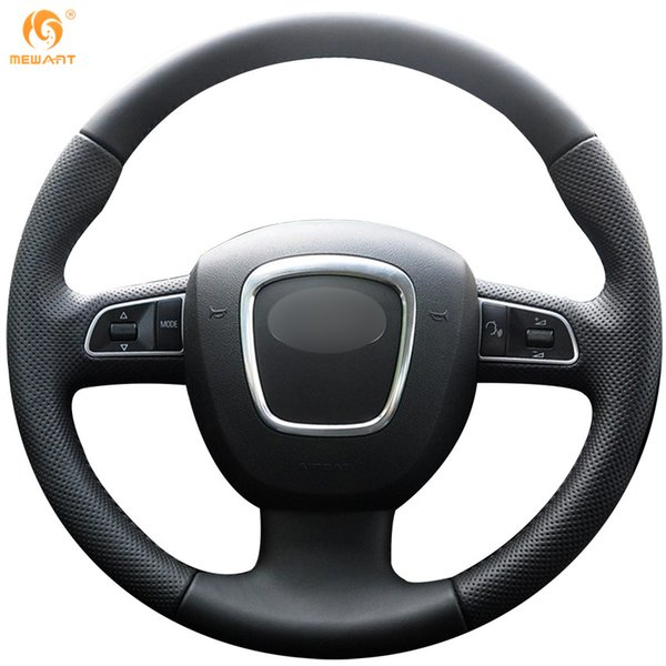 Mewant Black Genuine Leather Car Steering Wheel Cover for Audi A3 (8P) 2008-2013 A4 (B8) 2008-2010 A5 2008-2010 A6 (C6) 2007-2011