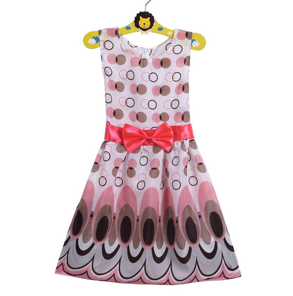 Hot Sale 2017 New Kids Girl Dress 1-9Y Bow Belt Dress Princess Bow Belt Circle Sleeveless For Holiday Bubble Peacock Party Clothing vestidos