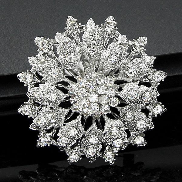 Luxury Rhinestone Pin Brooch Bridal Flower Corsage Clear Crystal Wedding Bouquet Brooches Pins Breastpin for Men Women Wedding Jewelry