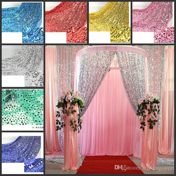 Shiny 9mm Sequins Fabric For Wedding Table Cloth Decoration Backdrop Multicolor Wedding Gauze Background Curtain Sequined Fabric