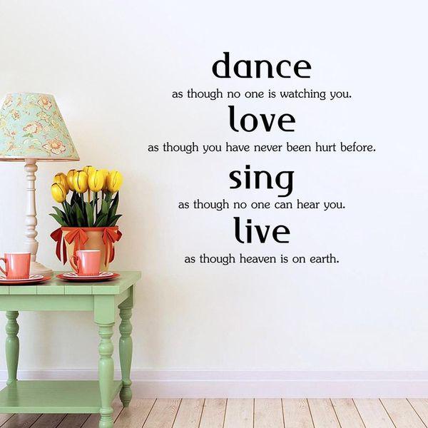 Beste Leben Englisch Sprichwörter PVC abnehmbare wasserdichte Aufkleber Aufkleber kreative Kombination Tapete Schlafzimmer Wohnzimmer