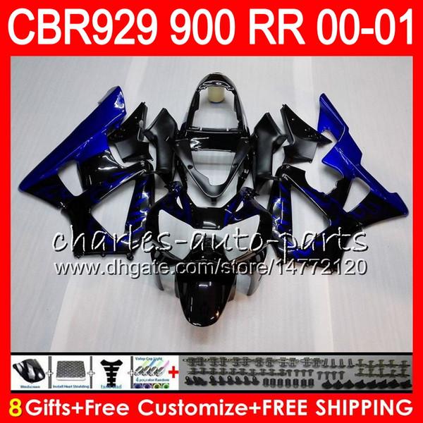Body For HONDA CBR 929RR CBR900RR CBR929RR 00 01 CBR 900RR TOP blue flames 67HM5 CBR929 RR CBR900 RR CBR 929 RR 2000 2001 Fairing kit 8Gifts