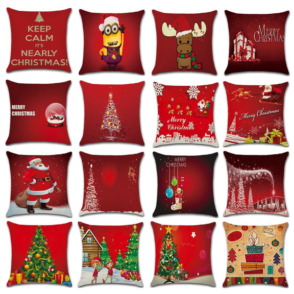 top popular Red Christmas pillows case Xmas New Year Christmas tree Santa Claus elk Cushion Covers Car Office Home Decorative Pillow Cover 16styles 2021