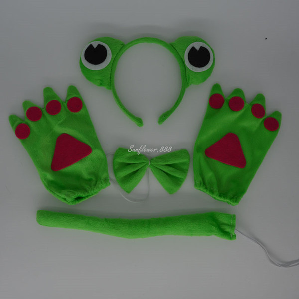 2017 New Green Prince Frog Headband Bow Tie Tail Paws Gloves Cosplay Costume Accessories For Kids Adults Halloween Party Favor Gift