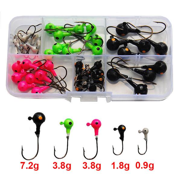 50pcs Multicolor 3D Fish Eyes Jig Head Fishing Hooks High Carbon Steel Lead Head Lures Fishing Hooks Set With Box