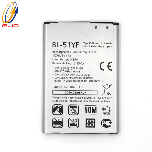 best selling Battery For LG G4 New High Quality Li-ion Replacement Batterle EAC62818406 3.8V BL-51YF Batteries Akku