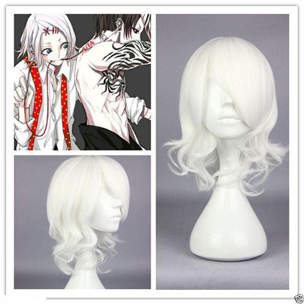 Tokyo Ghoul Juuzou Suzuya White peruca suzuya curly short cosplay anime wig