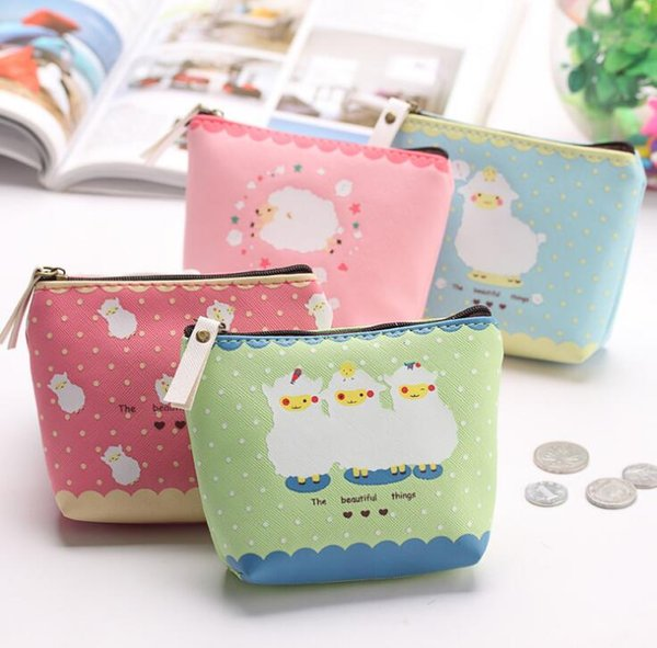 Girl Kid Coin Purse Animal Baby Sheep Zipper Case PU Leather Wallet Bag Pouch DHL free ship