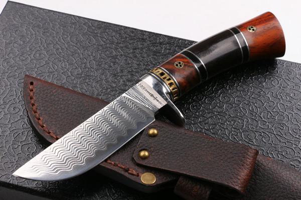 2016 Nouvelle arrivée Damas en acier lame fixe couteau de chasse 60 HRC Mat finition lame survie en plein air couteau droit cadeau couteaux