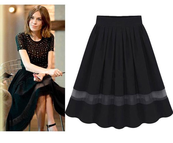 d822a590b5 New woman Pleated skirts Chiffon Lace Splice fairy Black Comfortable  Transparent Breathable Sexy Ladies skirt Casual