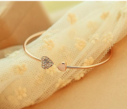 Wholesale- Mix wholesale.2014 New heart crystal love opening gold Siliver plated bracelet crystal bracelets bangles for women