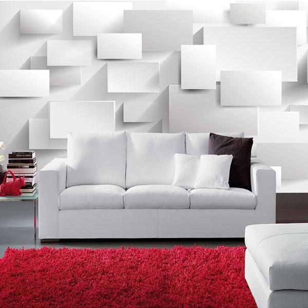 Atacado-Personalizado Modern 3D estereoscópico Grande mural papel de parede caixa de papel de parede 3d cubo sala de estar sofá quarto mural papel de parede