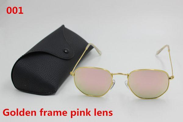 1pcs 2017 New to the fashionable men and women fashion designer sunglasses gold color restoring ancient ways framework pink lens black box