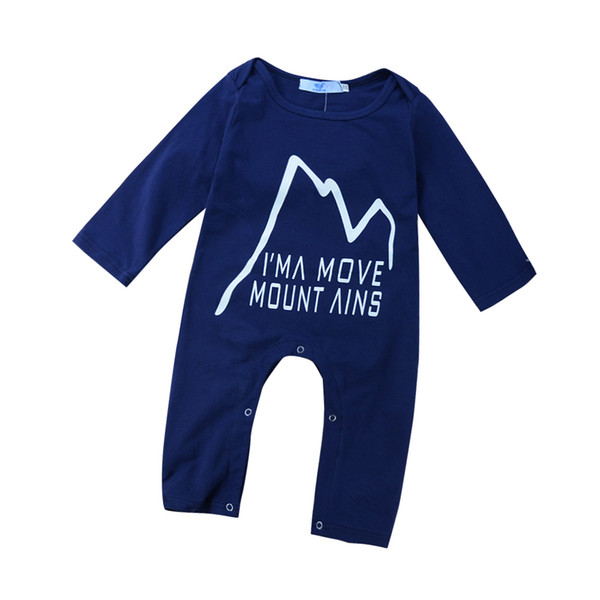 Newborn infant baby boy toddler romper jumpsuits Navy solid pajamas bodysuits mountain children cotton long sleeve cool boys kids clothing