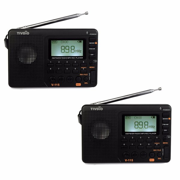 Wholesale-2pcs TIVDIO V-115 FM/AM/SW Radio Multiband Radio Receiver Bass Sound MP3 Player REC Recorder Portable Radio F9205A