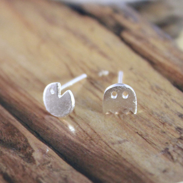 5 pairs/lot Newest Style Real Pure 925 Sterling Silver Pacman Shape Little Ghost Game Post Stud Earrings pendientes de plata