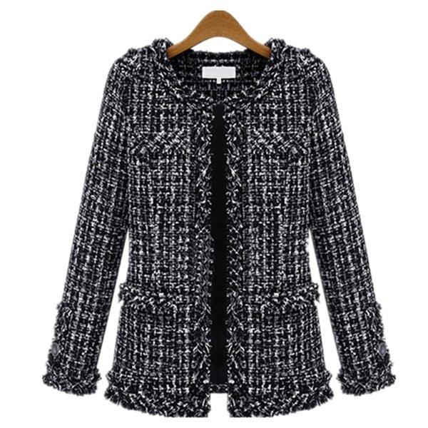 Gros- 2016 automne et en hiver European Design Veste courte Slim mince manteau blanc en laine à carreaux noir de grande taille femelle femmes Outwear Z2328