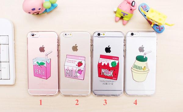 Strawberry WaterMelon Banana Juice Milk Soft Silicone TPU Case Fundas Coque For iPhone 6 6S 5 SE 8 8Plus X 7 7Plus
