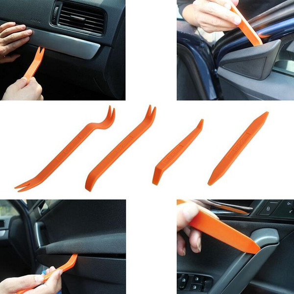 top popular 4pcs set DIY Portable Vehicle Car Auto Door Clip Panel Audio dvr gps Refit Trim Removal Tools Set Kit Pry Refitting Repairing Tool 2021