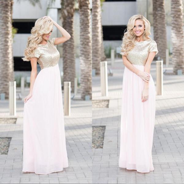 Popular 2017 Light Gold Sequin Top Light Pink Chiffon Bridesmaid ...