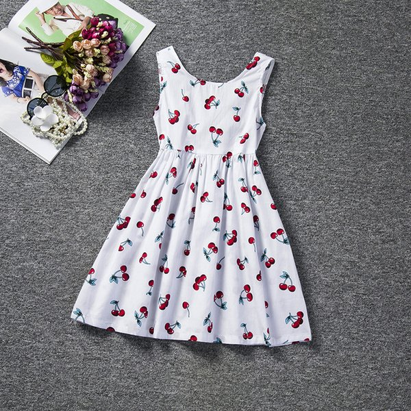 4aa5deffef 2017 hot sale Fashion children s clothing girl cute dress cherry pattern  halter vest dress pompong princess