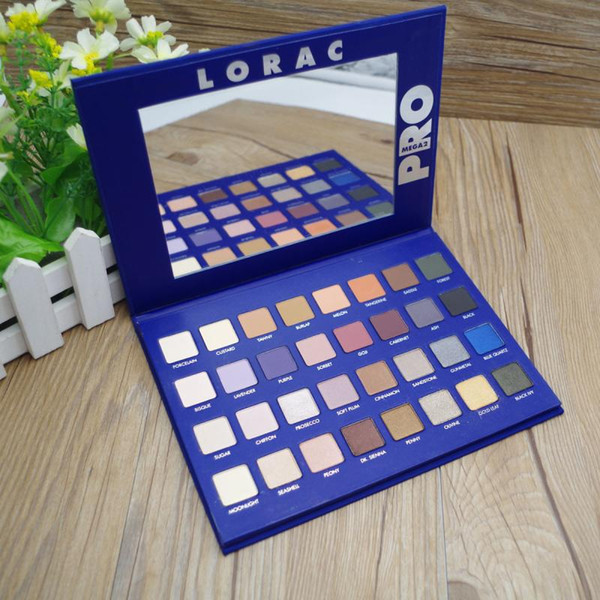 DHL Free Eyeshadow LORAC Mega PRO Professional Makeup Eye Shadow Palette Kits Limited Edition Brands Eyes Cosmetics Set 32 Colors Blue Color