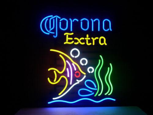 17''X14''NEW CORONA EXTRA TROPICAL FISH MEXICO REAL NEON LIGHT BEER SIGN