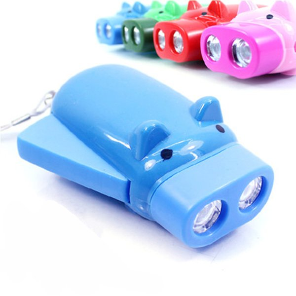 New Dynamo Flashlights Manual Hand Pressing Power 2 LED Protable Pig Shaped Cartoon Torch Light Crank Power Wind Up For Camping Lamp