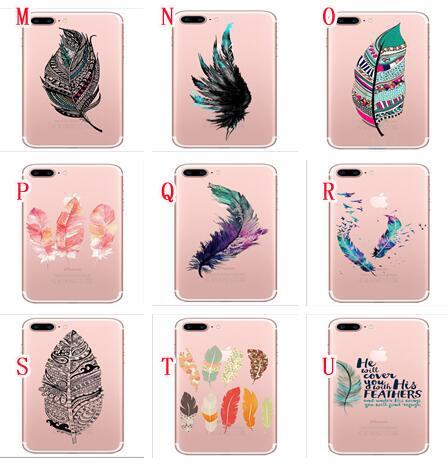 Fruit Soft TPU Case For Iphone 7 PLUS I7 7PLUS 6 6S I6 SE 5 5S Feather Lip Lipstick Pineapple Banana Cartoon Silicone Phone Skin Cover 20PCS