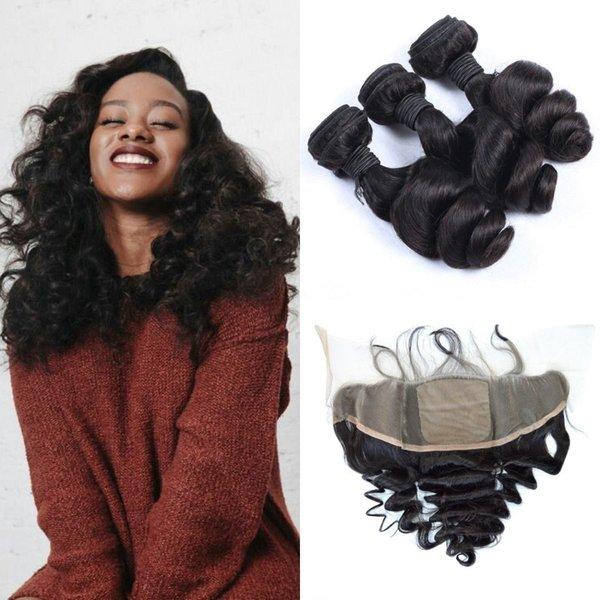 Natural Black Virgin Indian Loose Wave Silk Base Frontal With 3 Bundles Unprocessed Human Hair Extensions G-EASY