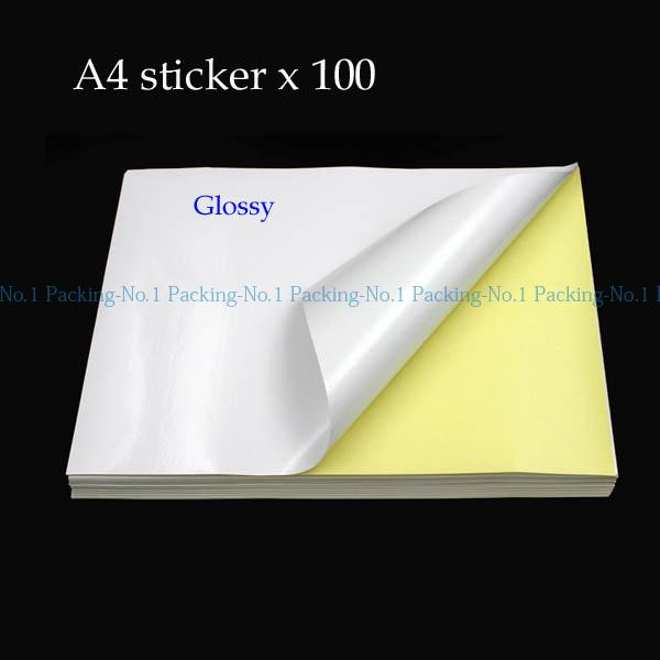 Wholesale- 100 sheets A4 (297 x 210mm) adhesive paper blank printing copy white sticker label glossy surface Paper For Laser and Inkjet