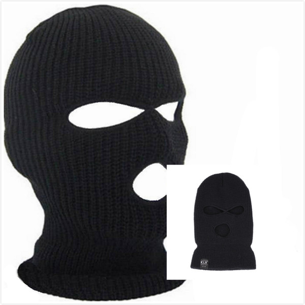 Designer Winter Balaclava For Mens Womens Cycling Skiing Full Face Mask Three 3 Hole Covering Caps Knit Acrylic Adults Man Sport Beanie Hat
