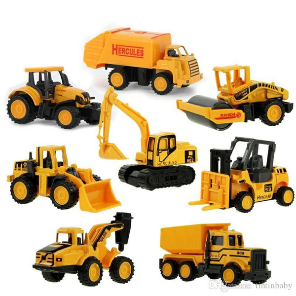 Diecast Metal Plastic Mini Construction Vehicle Engineering Car Artificial Dump Truck Model Toy (Pack of 8)