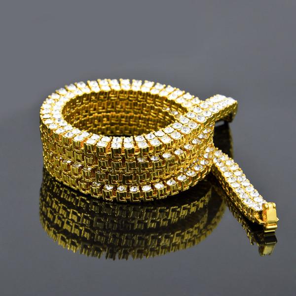 2017 neue 18 Karat Gold Gefüllt 2 Reihe Iced Out Tennis Halskette 20,24,30 zoll kubanischen gliederkette Für männer