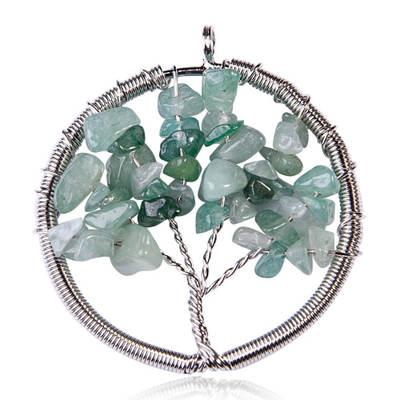 Womens Charms Jewelry multicolor Round Turquoise Handmade Tree of Life Natural Gemstone Crystal Wire Wrap Pendant Necklace