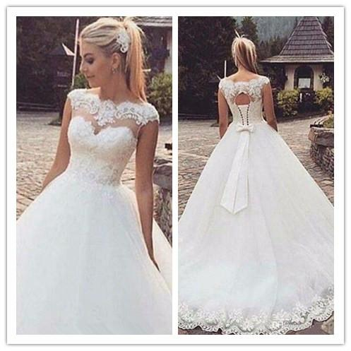 2019 new vintage lace wedding dresses ball gown court train scoop neckline applique cap sleeve princess bridal gowns vestidos de novia w1205