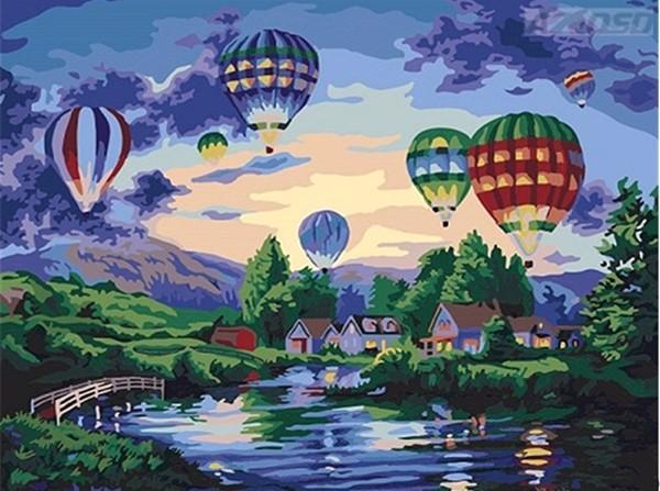 Satin Al Cercevesiz Sicak Hava Balonu Gokyuzunde Diy Boyama By