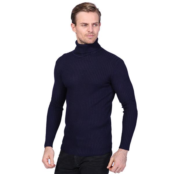 yeeho / YH-004New Moda Gola De Camisolas Dos Homens Sólidos Pullovers Manga Longa Camisola Dos Homens De Malha Alta Elastic Barato Outono Inverno Blusas YH-